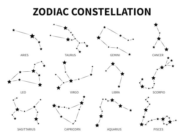 Costellazione dello zodiaco. ariete toro gemelli cancro leone vergine bilancia scorpione pesci zodiacali, astrologia mistica segni neri