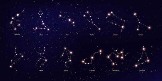 Costellazione dello zodiaco, simboli astrologici su sfondo stellato blu scuro.