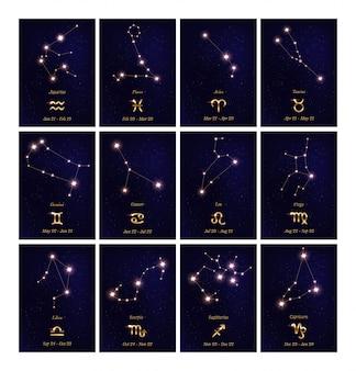 Set di illustrazioni di costellazione dello zodiaco