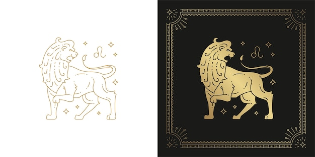 Zodiaco leone oroscopo segno line art silhouette design illustrazione