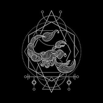 Zodiac scorpio geometri style Vettore Premium