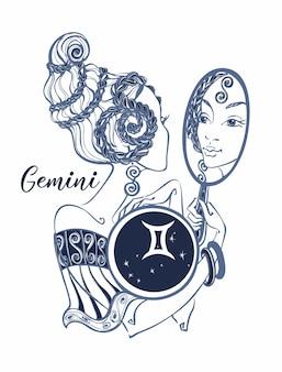 Segno zodiacale gemelli una bella ragazza. Vettore Premium