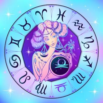 Segno zodiacale bilancia una bella ragazza