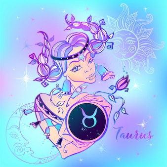 Segno zodiacale toro una bella ragazza