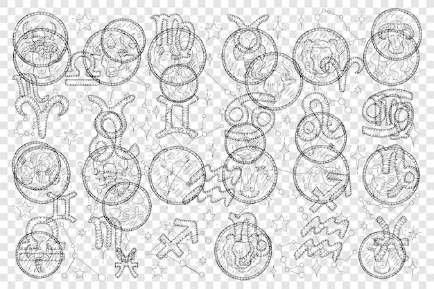 Segni zodiacali e calendario lunare doodle insieme illustrazione