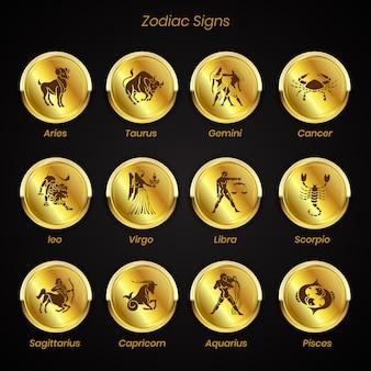 Insieme di segni zodiacali della collezione di astrologia simboli oroscopo