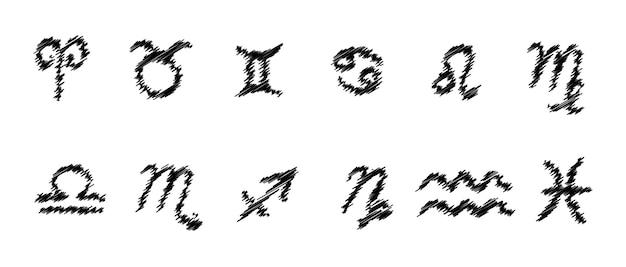Segni zodiacali. insieme di raccolta di simboli di vettore dello zodiaco