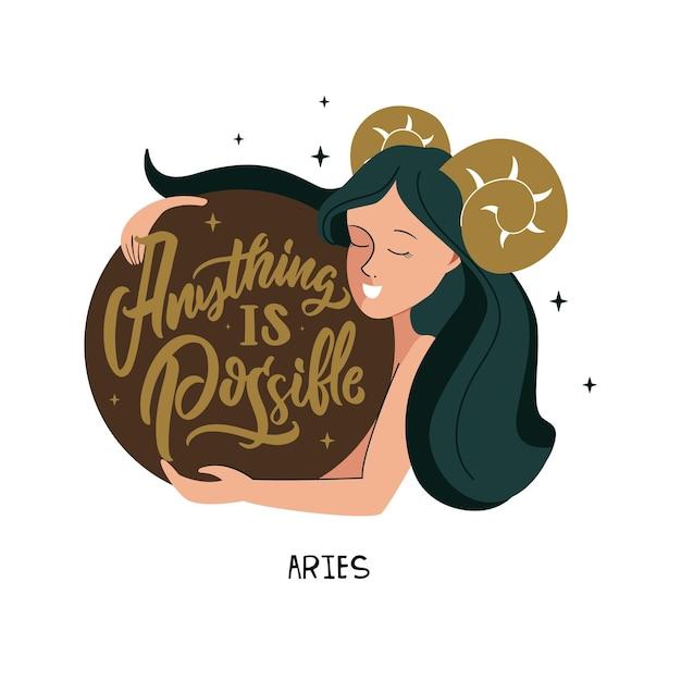 Simbolo zodiacale ariete e ragazza frase tutto è possibile è buono per la costellazione dell'oroscopo