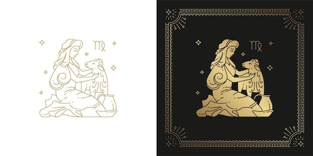 Zodiaco virgo oroscopo segno line art silhouette design illustrazione