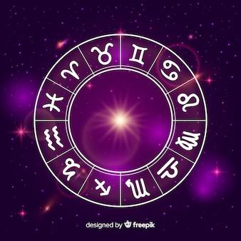 Ruota dello zodiaco sullo sfondo dello spazio
