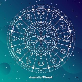 Ruota dello zodiaco su uno sfondo di spazio