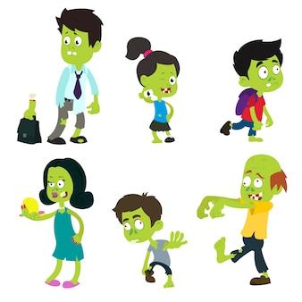 Zombie adulti e bambini.