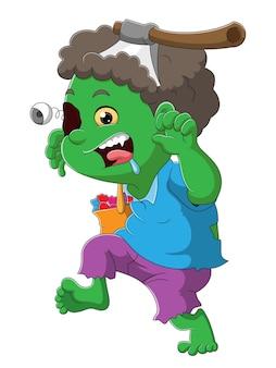 Il ragazzo zombie con la pelle verde e l'ascia sulla testa dell'illustrazione