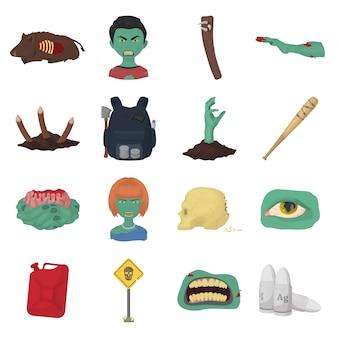 Icona stabilita del fumetto delle zombie. halloween . zombie sotterraneo dell'icona stabilita isolata del fumetto.