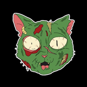 Cartone animato gatto zombie