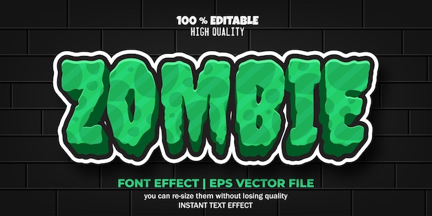 Stile dell'effetto del testo del carattere modificabile zombie