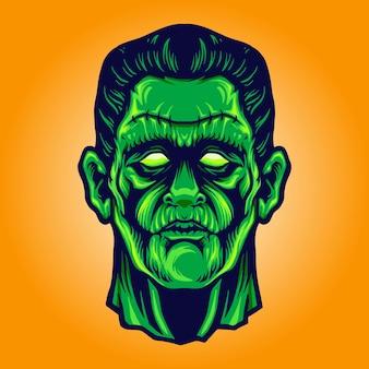 Zombie frankenstein face halloween illustrazioni vettoriali per il tuo lavoro logo, t-shirt di merce mascotte, adesivi e design di etichette, poster, biglietti di auguri pubblicitari società o marchi.