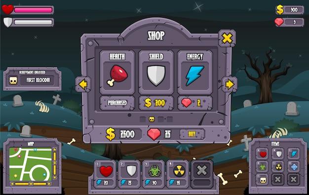 Zombie game gui Vettore Premium