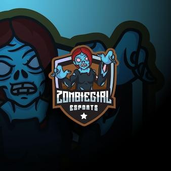 Logo mascotte esport ragazza zombie