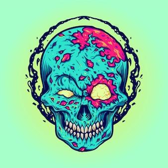Illustrazioni della mascotte del cranio di halloween di zombie per la linea di abbigliamento di merce