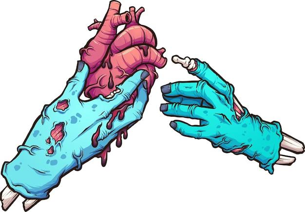 Mano di zombi che dà un cuore sanguinante a un'altra mano di zombi