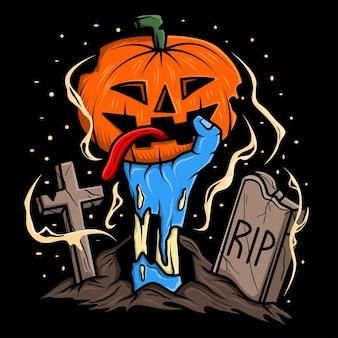 Mano di zombie che tiene l'illustrazione della zucca di halloween