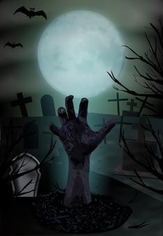 Mano di zombie che sale dalla tomba, sfondo di halloween.