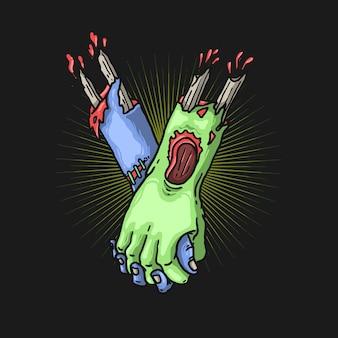 Illustrazione di concetto di solidarietà mano zombie