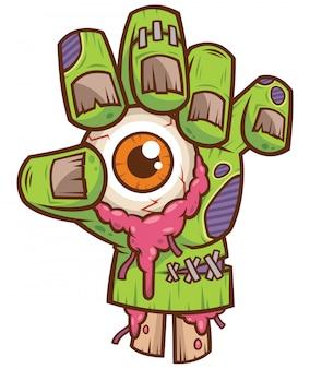 Mano di zombie con bulbo oculare
