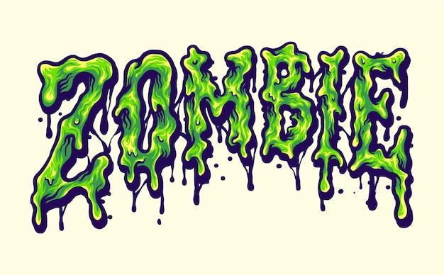 Illustrazioni di fusione del carattere tipografico dell'orrore zombi