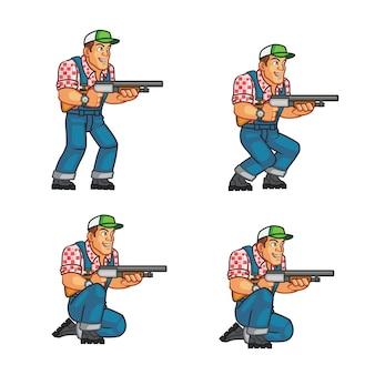 Sprite di animazione del carattere del gioco del coltivatore americano del collo rosso di zombie killer