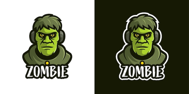 Il modello di logo del personaggio mascotte zombi
