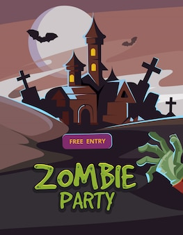 Illustrazione vettoriale di zombie party
