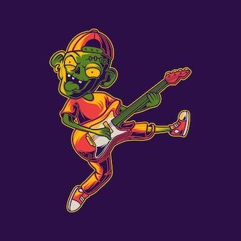 Zombie che suona la chitarra con le gambe alzate