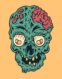 Illustrazione di vettore del cranio di zombie