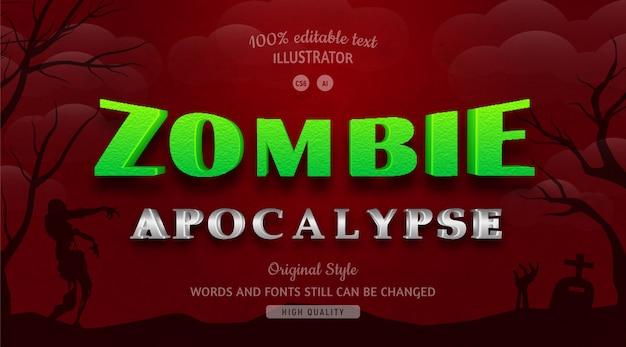 Colore verde del testo di zombie con sfumatura.