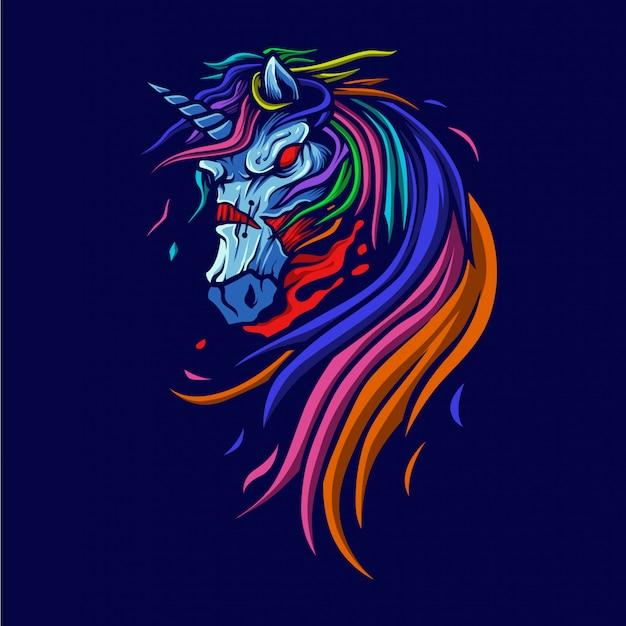 Illustrazione di unicorno di zombie