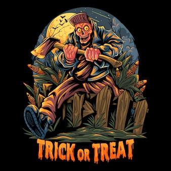 Zombi che trasportano asce andando a una festa di halloween saltando sopra le recinzioni di legno nel giardino di mais