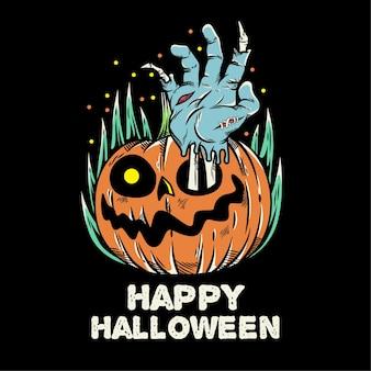 La mano degli zombi esce dalla zucca di halloween