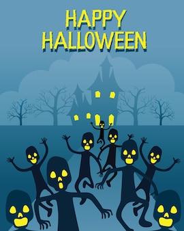Zombie che scappano dal castello spettrale