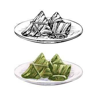 Zongzi sul piatto. illustrazione disegnata a mano di colore di tratteggio di vettore dell'annata isolata su fondo bianco