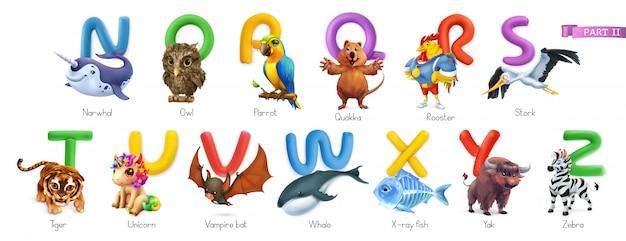 Alfabeto zoo. animali divertenti, set di icone 3d. lettere n - z. narwhal, gufo, arrot, quokka, gallo, cicogna, tigre, unicorno, pipistrello vampiro, balena, pesce a raggi x, yak, zebra