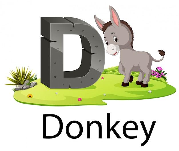 Alfabeto animale zoologico d per l'asino con l'animale accanto