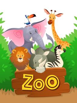 Animali dello zoo. fondo verde divertente divertente del paesaggio della natura della giungla dell'insegna dello zoo dell'animale selvatico dei gruppi della fauna selvatica africana di safari