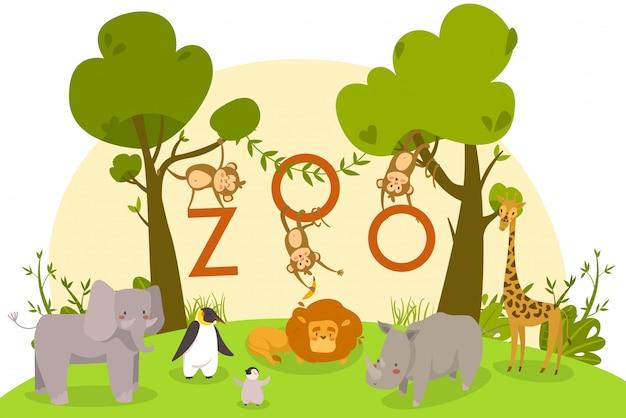 Animali dello zoo, personaggi dei cartoni animati svegli, leone, scimmie e pinguini, illustrazione