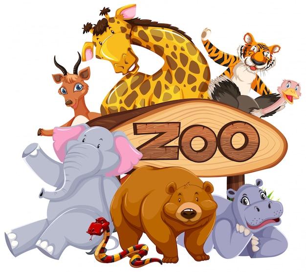 Animali dello zoo al segno dell'entrata