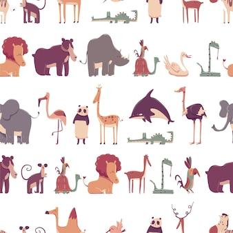 Reticolo senza giunte del fumetto di vettore degli animali dello zoo su sfondo bianco.