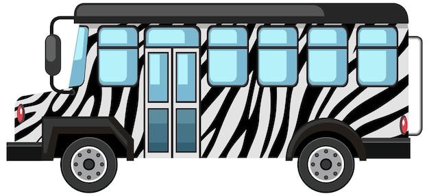 Concetto di zoo con bus safari isolato su sfondo bianco