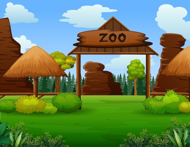 Ingresso allo zoo senza illustrazione di visitatori