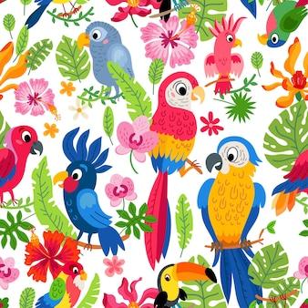 Modello della giungla dello zoo con uno sfondo di uccelli tropicali